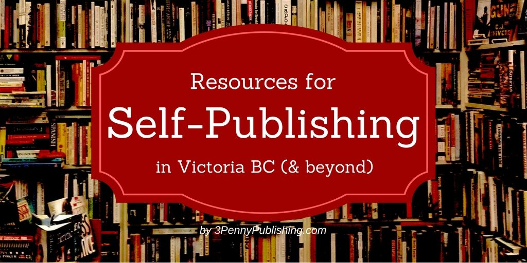 Self-Publishing Resources title over bookshelves background