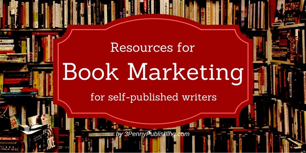 Bookshelves photo with text box saying Resources for Book Marketing for Self-published writers